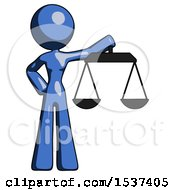 Blue Design Mascot Woman Holding Scales Of Justice