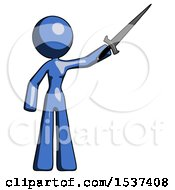 Blue Design Mascot Woman Holding Sword In The Air Victoriously