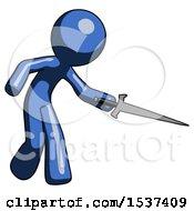 Blue Design Mascot Man Sword Pose Stabbing Or Jabbing