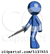 Blue Design Mascot Man With Sword Walking Confidently