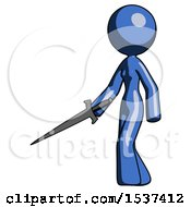 Blue Design Mascot Woman With Sword Walking Confidently