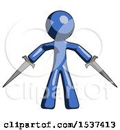Blue Design Mascot Man Two Sword Defense Pose