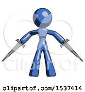 Blue Design Mascot Woman Two Sword Defense Pose
