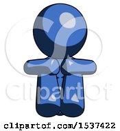 Blue Design Mascot Woman Sitting With Head Down Facing Forward