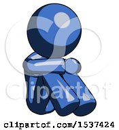 Blue Design Mascot Woman Sitting With Head Down Facing Angle Right