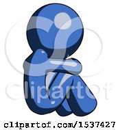 Blue Design Mascot Man Sitting With Head Down Back View Facing Right