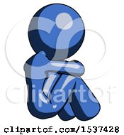 Blue Design Mascot Woman Sitting With Head Down Back View Facing Right
