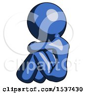 Blue Design Mascot Woman Sitting With Head Down Back View Facing Left