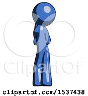 Blue Design Mascot Man Thinking Wondering Or Pondering Rear View