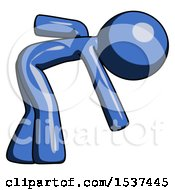 Blue Design Mascot Man Picking Something Up Bent Over