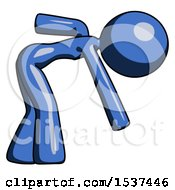 Blue Design Mascot Woman Bent Over Picking Something Up