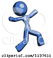 Blue Design Mascot Woman Running Away In Hysterical Panic Direction Right