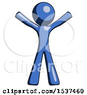 Blue Design Mascot Man Surprise Pose Arms And Legs Out