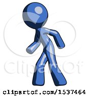 Blue Design Mascot Man Suspense Action Pose Facing Left