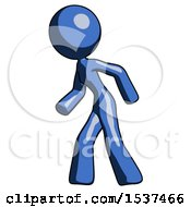 Blue Design Mascot Woman Suspenseaction Pose Facing Left