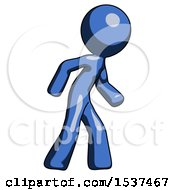Blue Design Mascot Man Suspense Action Pose Facing Right