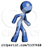 Blue Design Mascot Woman Suspense Action Pose Facing Right