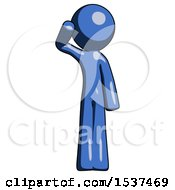 Blue Design Mascot Man Soldier Salute Pose