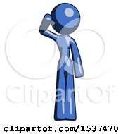 Blue Design Mascot Woman Soldier Salute Pose