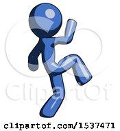 Blue Design Mascot Man Kick Pose Start