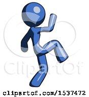 Blue Design Mascot Woman Kick Pose Start