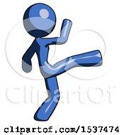 Blue Design Mascot Woman Kick Pose