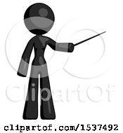 Black Design Mascot Woman Teacher Or Conductor With Stick Or Baton Directing