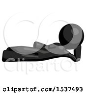 Black Design Mascot Man Reclined On Side