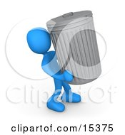 Blue Person Carrying A Heavy Trash Can Out To The Curb On Garbage Day Clipart Illustration Image