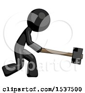 Black Design Mascot Man Hitting With Sledgehammer Or Smashing Something