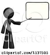 Black Design Mascot Woman Pointing At Dry Erase Board With Stick Giving Presentation