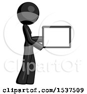 Black Design Mascot Woman Show Tablet Device Computer To Viewer Blank Area