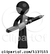 Black Design Mascot Man Posing Confidently With Giant Pen