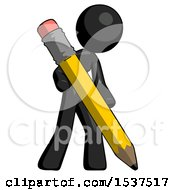 Black Design Mascot Woman Drawing With Large Pencil
