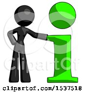 Black Design Mascot Woman With Info Symbol Leaning Up Against It