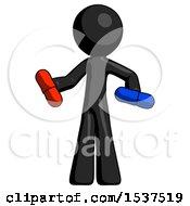 Black Design Mascot Man Red Pill Or Blue Pill Concept