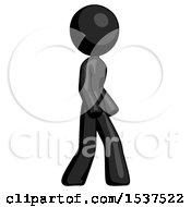 Black Design Mascot Woman Turned Right Front View