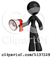 Black Design Mascot Woman Holding Megaphone Bullhorn Facing Right