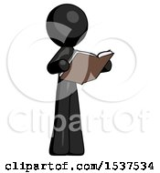 Black Design Mascot Man Reading Book While Standing Up Facing Away