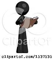 Black Design Mascot Woman Reading Book While Standing Up Facing Away