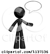 Black Design Mascot Woman With Word Bubble Talking Chat Icon