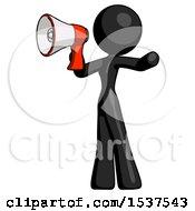 Black Design Mascot Woman Shouting Into Megaphone Bullhorn Facing Left