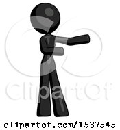 Black Design Mascot Woman Presenting Something To Her Left