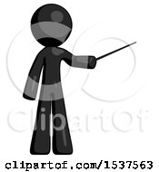 Black Design Mascot Man Teacher Or Conductor With Stick Or Baton Directing