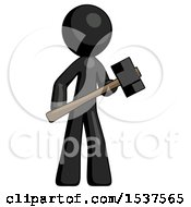 Black Design Mascot Man With Sledgehammer Standing Ready To Work Or Defend