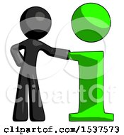 Black Design Mascot Man With Info Symbol Leaning Up Against It