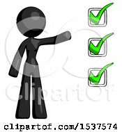 Black Design Mascot Woman Standing By A Checkmark List Arm Extended