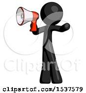 Black Design Mascot Man Shouting Into Megaphone Bullhorn Facing Left