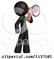 Black Design Mascot Man Shouting Into Megaphone Bullhorn Facing Right