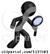 Black Design Mascot Man Inspecting With Large Magnifying Glass Right